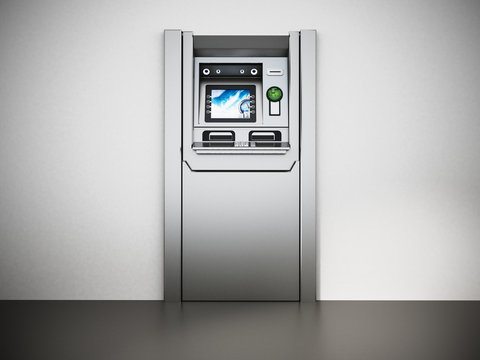 Generic ATM or Automated Teller Machine. 3D illustration