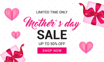 Mother's Day Sale Banner vector illustration. Gift box and heart paper on polka dot pattern background.