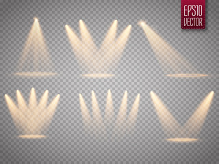 Set of isolated spotlights. Sun rays with beams isolated on transparent background. Sun flash. Vector illustration