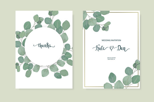 Floral card set with eucalyptus leaves. Greenery frame.Rustic style. For wedding, birthday, party, save the date. Vector illustration.