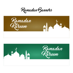 Ramadan Kareem background and banner with mosque silhouette.