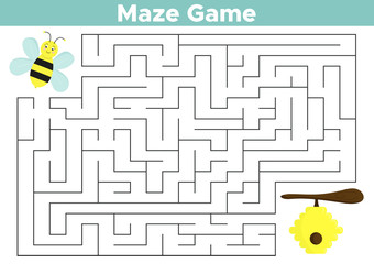 Educational maze game for preschool children. Help funny cartoon bee find right way to beehive. Vector illustration