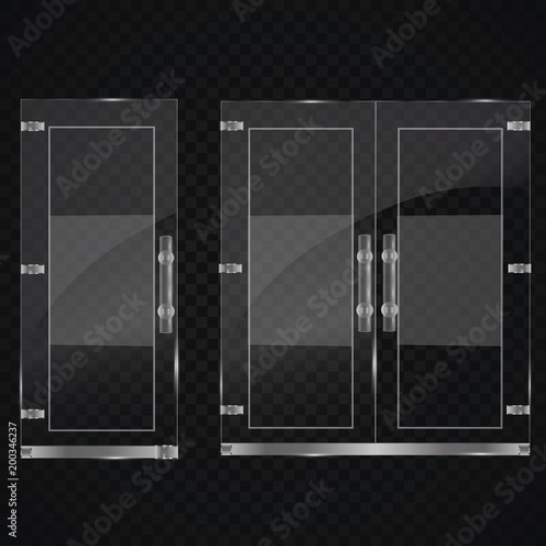 Glass Door Isolated On Transparent Background Vector Illustration