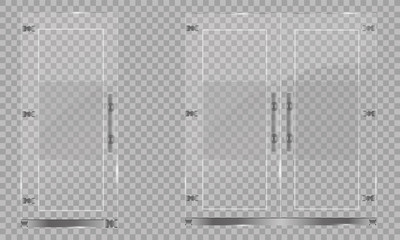 Glass door isolated on transparent background. Vector illustration