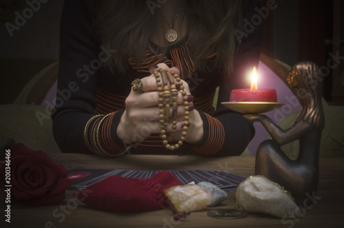 Tarot cards on the table  Fortune teller reading the future