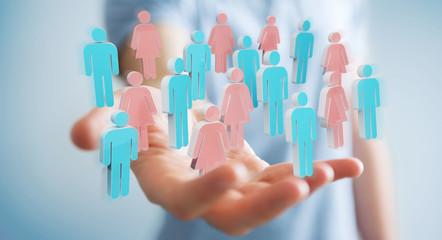 Businessman using 3D rendering group of people