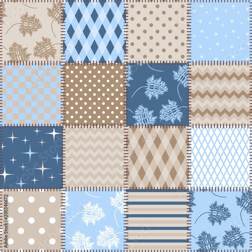 Seamless Patchwork Background With Different Patterns In Blue And