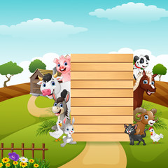 Blank sign board with the farm animals