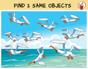 Find two the same seagulls in the picture. Educational matching game for children. Cartoon vector illustration