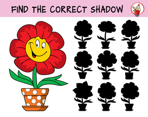 Funny smiling flower in a flowerpot. Find the correct shadow. Educational matching game for children. Cartoon vector illustration