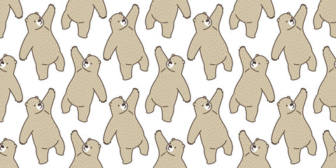 Bear seamless pattern vector panda polar bear isolated teddy background wallpaper brown