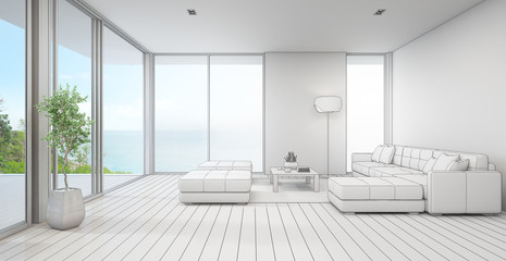 Sea view living room of luxury beach house with indoor plant near glass door and wooden floor deck. White sofa against blue wall in vacation home or holiday villa. Interior 3d illustration sketching.