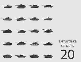 Battle tanks set of flat icons. Vector illustration