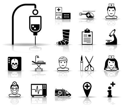 Krankenhaus - Iconset (Schwarz)