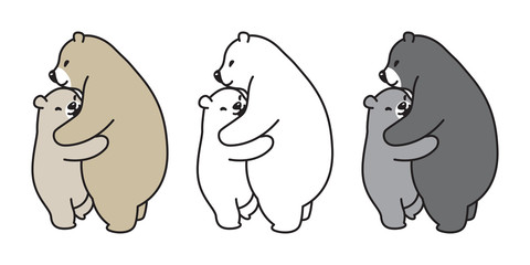 Bear vector polar bear panda logo icon hug illustration cartoon doodle