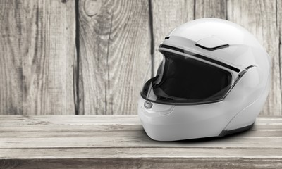 Biker helmet isolated on a table