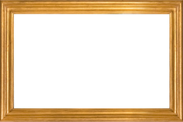 Gold wooden picture frame. Isolated on white