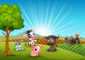Farm cartoon animals in the morning