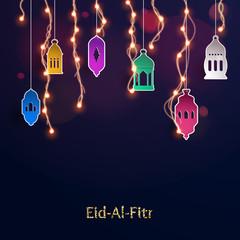 Eid-Al-Fitr greeting card with paper lantern.