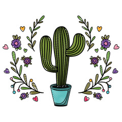 cactus nopal with wreath natural icon