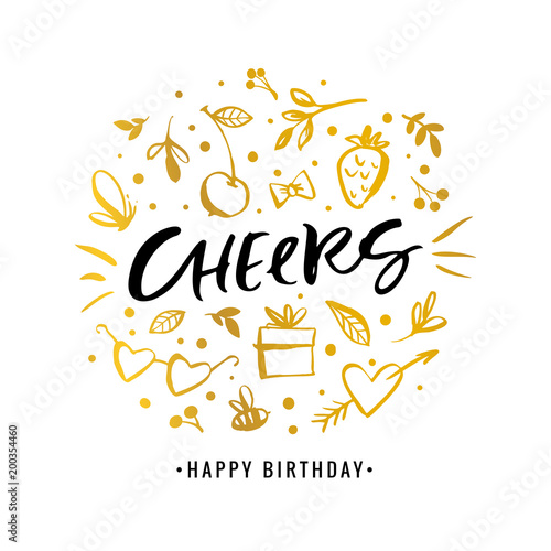Cheers Happy Birthday Calligraphy Greeting Card With Golden Gift
