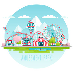 Amusement park, urban landscape..