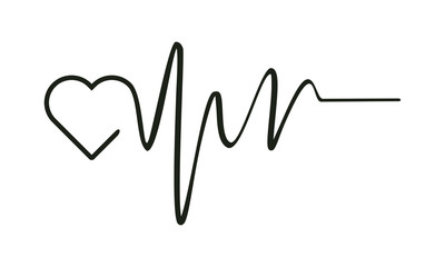 Heart beat monitor pulse line art icon for medical, Simple Heart pulse vector