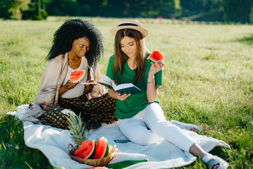 Picnic theme. Adorable african girl is eating the watermelon and chatting via the mobile phone while her alluring caucasian girl friend reading the book.