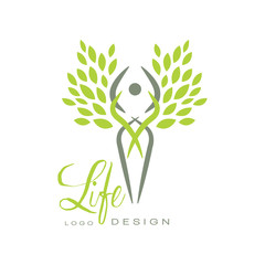 Trendy life logo template with silhouette of human and bright green leaves. Healthy lifestyle. Flat vector emblem for medical or wellness center