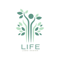 Green life logo with leaves and abstract human figure. Harmony with nature. Flat vector emblem for medical care center or spa salon