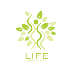 Bright green life logo with human silhouette and leaves. Natural and healthy living. Flat vector emblem for yoga studio or wellness center