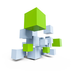 blue and green cubes construction