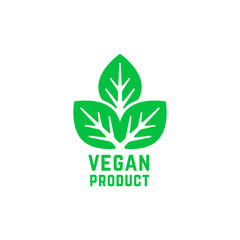 vegan product green logo isolated on white