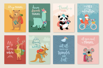 Travel Animals card set, hand drawn style,