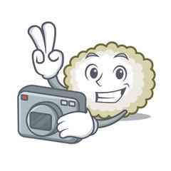 Photographer cotton ball mascot cartoon