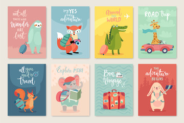 Fototapete - Travel Animals card set, hand drawn style,