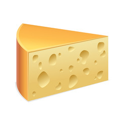 Piece of cheese with holes. Vector ollustration of triangle cheese slice isolated on white
