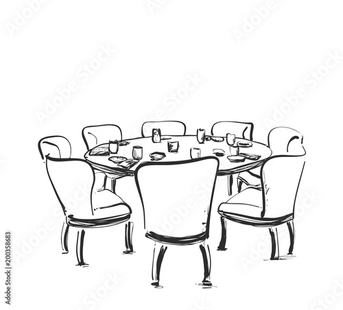 """Dining Table With Glasses Of Wine And Flower, Hand Drawn"