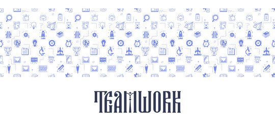 Teamwork seamless pattern. Business icons linear flat style