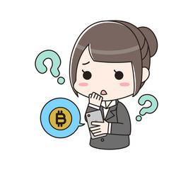 ビットコインについて悩む女性