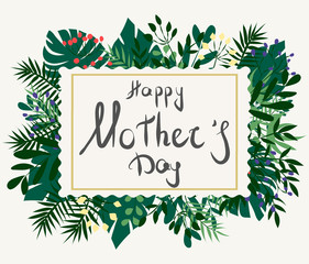 happy mother's day on tropical leaves background. green tropical background in watercolor style. Vector natural, botanical, elegant pattern.