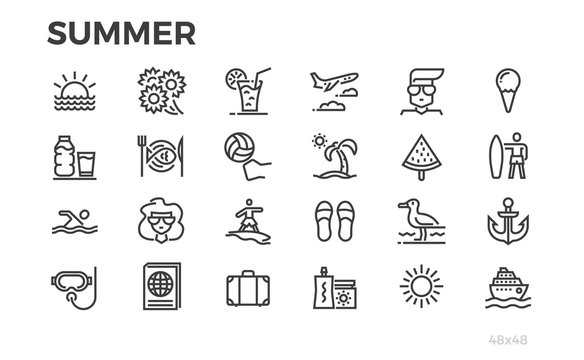 Summer vacation icons. Sun, sea, tourism and others symbols. Editable line.