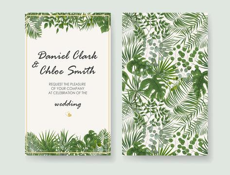 Wedding Invitation, rsvp modern card Design. Vector natural, botanical, elegant template.