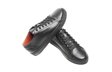 Black leather sneakers.