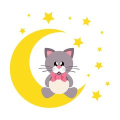 cartoon cute cat with tie sitting on the moon