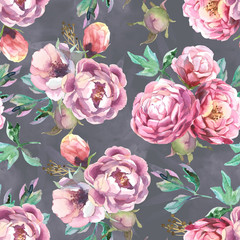 pattern of watercolor blue and red peonies