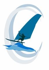 Der Windsurfer reitet die Wellen auf dem Meer