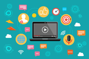 Video marketing. Video, webinar, online conference. Vector illustration.