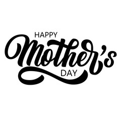 Hand drawn Happy Mother's Day brush lettering, custom typography, black holiday calligraphy isolated on white background. Vector illustration.