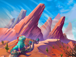The Lizard in the Desert with Fantastic, Realistic and Futuristic Style. Video Game's Digital CG Artwork, Concept Illustration, Realistic Cartoon Style Scene Design